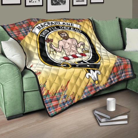 MacFarlane Ancient Clan Crest Tartan Scotland Gold Royal Premium Quilt K9