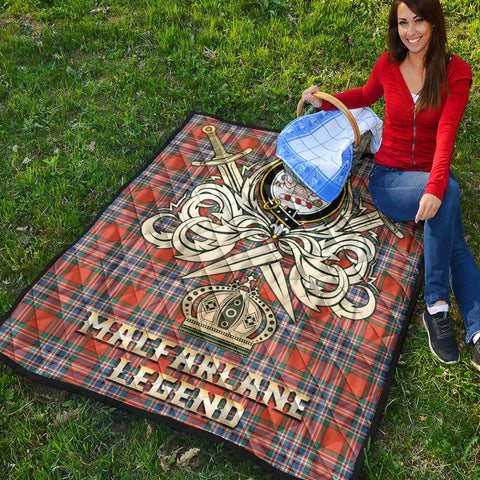 MacFarlane Ancient Clan Crest Tartan Scotland Clan Legend Gold Royal Premium Quilt K9