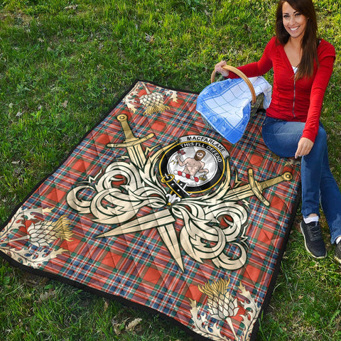 MacFarlane Ancient Clan Crest Tartan Scotland Thistle Symbol Gold Royal Premium Quilt K9