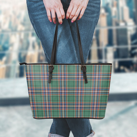 Image of MacFarlane Hunting Ancient Tartan Leather Tote Bag (Large) | Over 500 Tartans | Special Custom Design