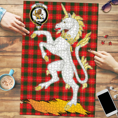 Image of MacFie Clan Crest Tartan Unicorn Scotland Jigsaw Puzzle