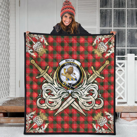 Image of MacFie Clan Crest Tartan Scotland Thistle Symbol Gold Royal Premium Quilt