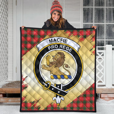 Image of MacFie Clan Crest Tartan Scotland Gold Royal Premium Quilt