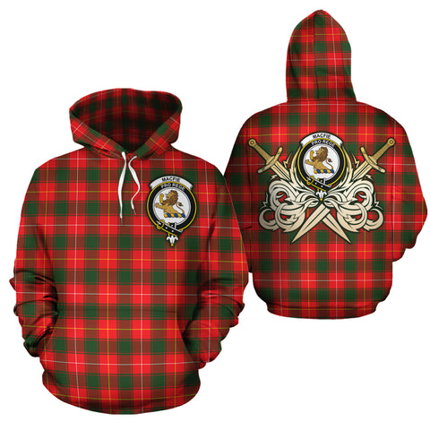 MacFie Clan Crest Tartan Scottish Gold Thistle Hoodie