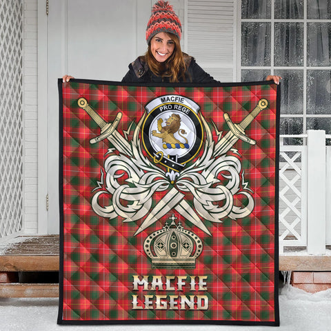 Image of MacFie Clan Crest Tartan Scotland Clan Legend Gold Royal Premium Quilt