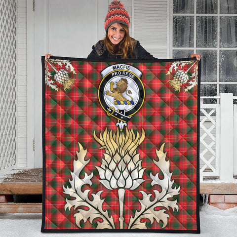 MacFie Clan Crest Tartan Scotland Thistle Gold Royal Premium Quilt