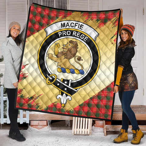 Image of MacFie Clan Crest Tartan Scotland Gold Royal Premium Quilt K9