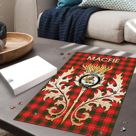 Image of MacFie Clan Name Crest Tartan Thistle Scotland Jigsaw Puzzle