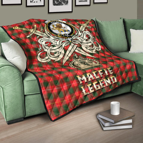 Image of MacFie Clan Crest Tartan Scotland Clan Legend Gold Royal Premium Quilt K9