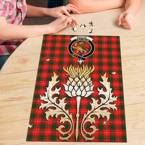 Image of MacFie Clan Crest Tartan Thistle Gold Jigsaw Puzzle