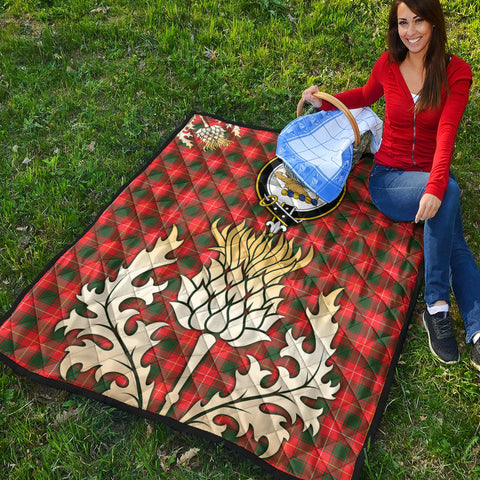 Image of MacFie Clan Crest Tartan Scotland Thistle Gold Royal Premium Quilt K9