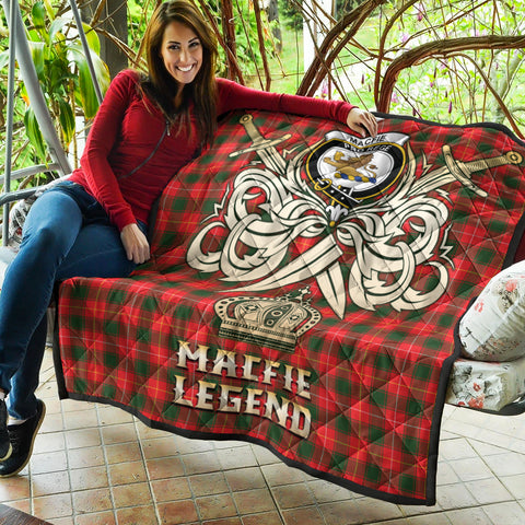 MacFie Clan Crest Tartan Scotland Clan Legend Gold Royal Premium Quilt K9