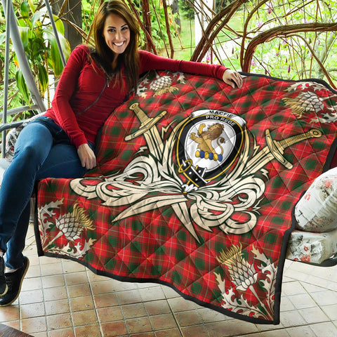 Image of MacFie Clan Crest Tartan Scotland Thistle Symbol Gold Royal Premium Quilt K9