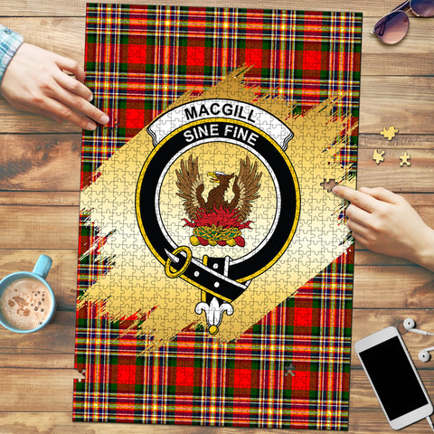 Image of MacGill Modern Clan Crest Tartan Jigsaw Puzzle Gold