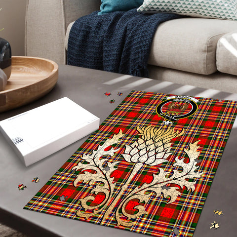 Image of MacGill Modern Clan Crest Tartan Thistle Gold Jigsaw Puzzle