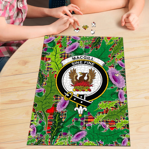 Image of MacGill Modern Clan Crest Tartan Thistle Pattern Scotland Jigsaw Puzzle