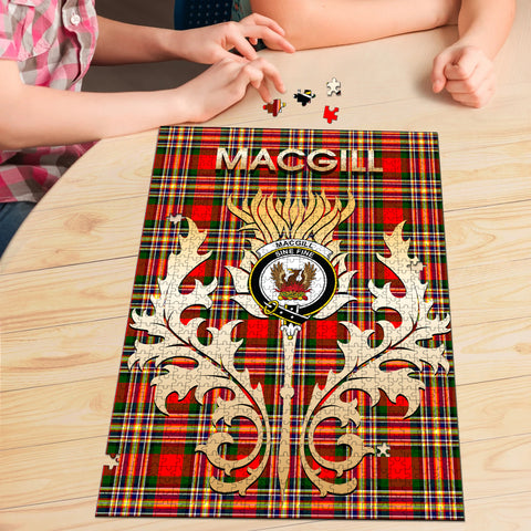 Image of MacGill Modern Clan Name Crest Tartan Thistle Scotland Jigsaw Puzzle