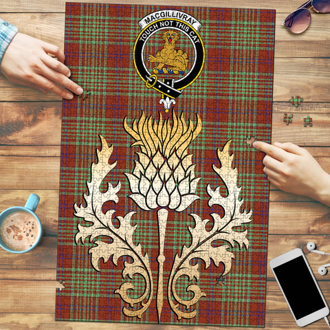 Image of MacGillivray Hunting Ancient Clan Crest Tartan Thistle Gold Jigsaw Puzzle