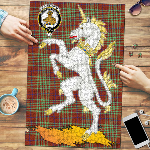 MacGillivray Hunting Ancient Clan Crest Tartan Unicorn Scotland Jigsaw Puzzle