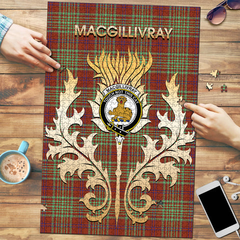 MacGillivray Hunting Ancient Clan Name Crest Tartan Thistle Scotland Jigsaw Puzzle