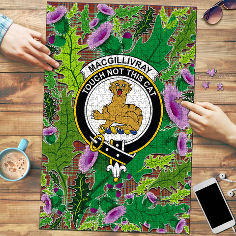 MacGillivray Hunting Ancient Clan Crest Tartan Thistle Pattern Scotland Jigsaw Puzzle
