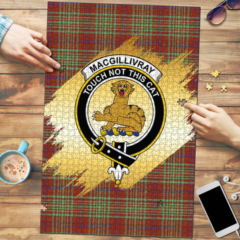 Image of MacGillivray Hunting Ancient Clan Crest Tartan Jigsaw Puzzle Gold