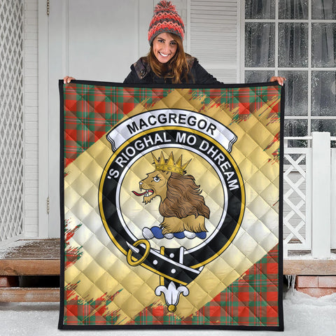 MacGregor Ancient Clan Crest Tartan Scotland Gold Royal Premium Quilt