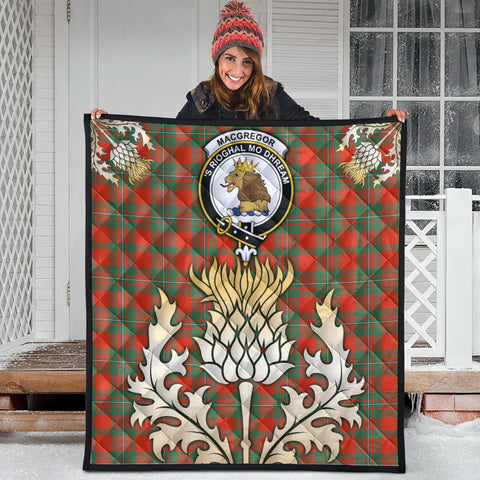 MacGregor Ancient Clan Crest Tartan Scotland Thistle Gold Royal Premium Quilt