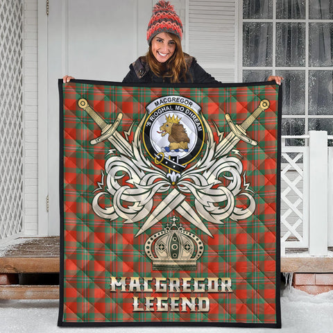 MacGregor Ancient Clan Crest Tartan Scotland Clan Legend Gold Royal Premium Quilt