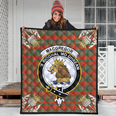 MacGregor Ancient Clan Crest Tartan Scotland Thistle Gold Pattern Premium Quilt