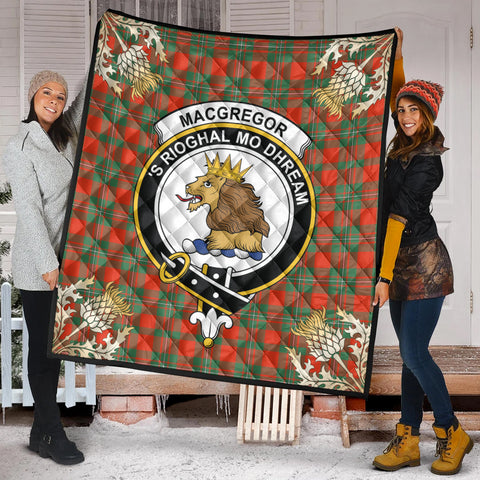 Image of MacGregor Ancient Clan Crest Tartan Scotland Thistle Gold Pattern Premium Quilt K9