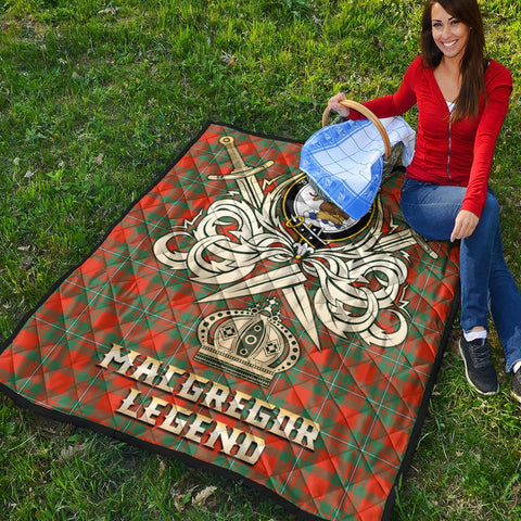 MacGregor Ancient Clan Crest Tartan Scotland Clan Legend Gold Royal Premium Quilt K9