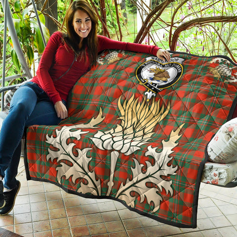 MacGregor Ancient Clan Crest Tartan Scotland Thistle Gold Royal Premium Quilt K9