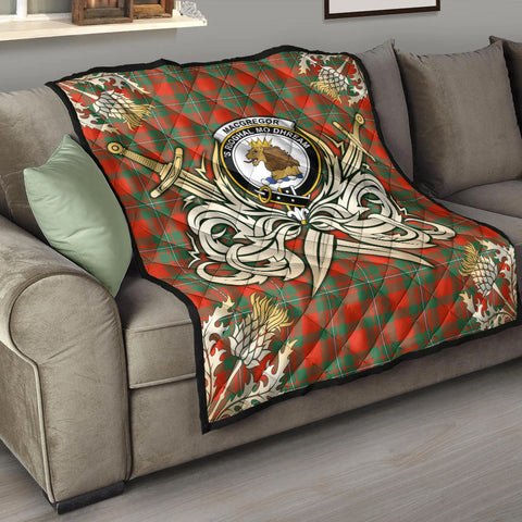 MacGregor Ancient Clan Crest Tartan Scotland Thistle Symbol Gold Royal Premium Quilt K9