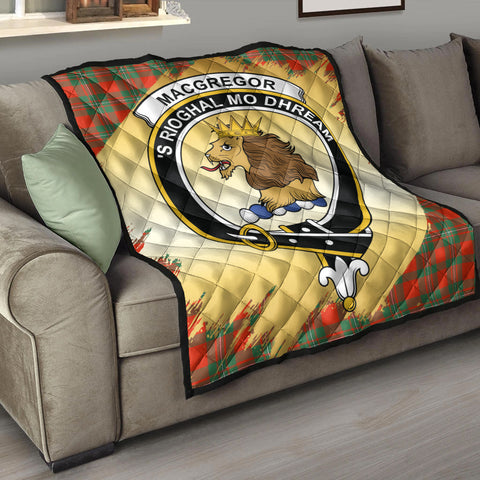 MacGregor Ancient Clan Crest Tartan Scotland Gold Royal Premium Quilt K9
