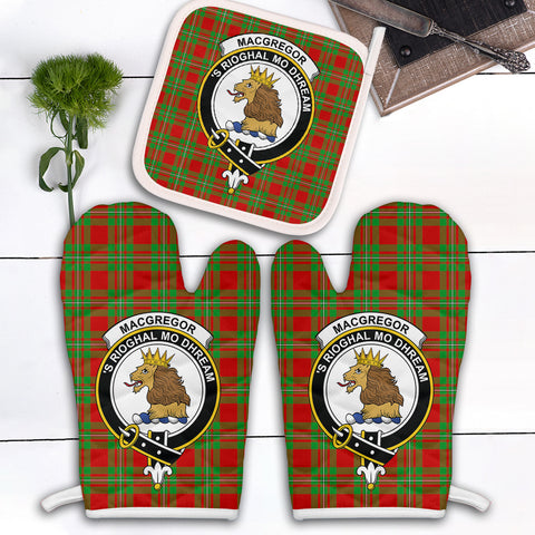 MacGregor Modern Clan Crest Tartan Scotland Oven Mitt And Pot-Holder (Set Of Two)