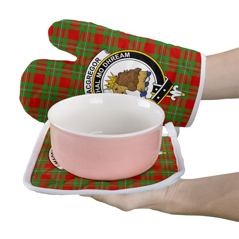 Image of MacGregor Modern Clan Crest Tartan Scotland Oven Mitt And Pot-Holder (Set Of Two)
