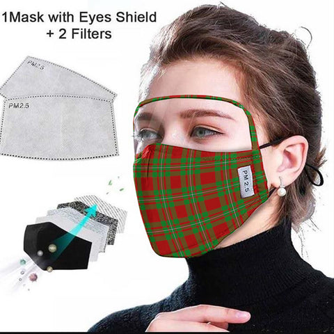 MacGregor Modern Tartan Face Mask With Eyes Shield - Red & Green  Plaid Mask TH8