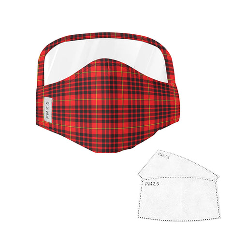 MacIan Tartan Face Mask With Eyes Shield - Red  Plaid Mask TH8