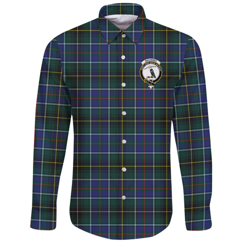 MacInnes Modern Tartan Clan Long Sleeve Button Shirt | Scottish Clan