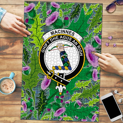 MacInnes Ancient Clan Crest Tartan Thistle Pattern Scotland Jigsaw Puzzle