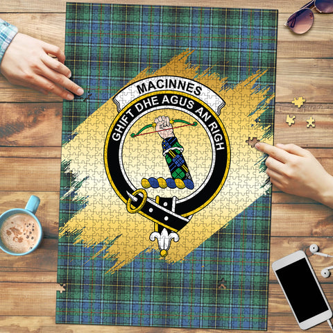 Image of MacInnes Ancient Clan Crest Tartan Jigsaw Puzzle Gold
