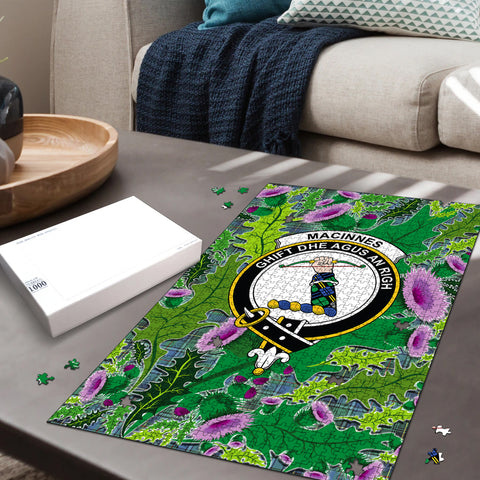 Image of MacInnes Ancient Clan Crest Tartan Thistle Pattern Scotland Jigsaw Puzzle