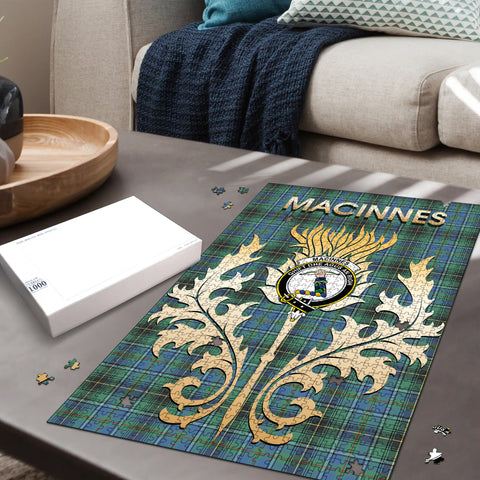 Image of MacInnes Ancient Clan Name Crest Tartan Thistle Scotland Jigsaw Puzzle