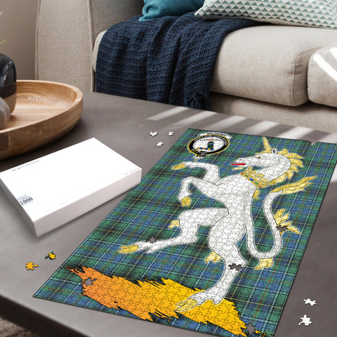 Image of MacInnes Ancient Clan Crest Tartan Unicorn Scotland Jigsaw Puzzle