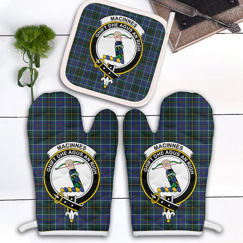 MacInnes Modern Clan Crest Tartan Scotland Oven Mitt And Pot-Holder (Set Of Two)