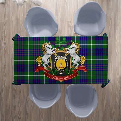 MacIntyre Hunting Modern Crest Tartan Tablecloth Unicorn Thistle | Home Decor