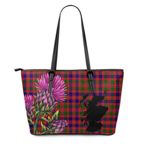 MacIntyre Modern Tartan Leather Tote Bag Thistle Scotland Maps A91