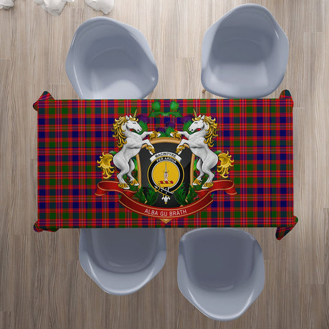 Image of MacIntyre Modern Crest Tartan Tablecloth Unicorn Thistle | Home Decor