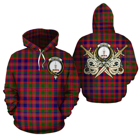 MacIntyre Modern Clan Crest Tartan Scottish Gold Thistle Hoodie